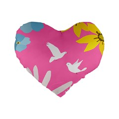 Spring Flower Floral Sunflower Bird Animals White Yellow Pink Blue Standard 16  Premium Heart Shape Cushions by Alisyart