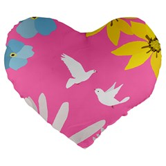 Spring Flower Floral Sunflower Bird Animals White Yellow Pink Blue Large 19  Premium Heart Shape Cushions by Alisyart