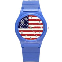 Flag United States United States Of America Stripes Red White Round Plastic Sport Watch (s) by Simbadda
