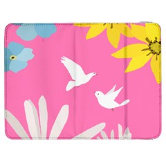 Spring Flower Floral Sunflower Bird Animals White Yellow Pink Blue Samsung Galaxy Tab 7  P1000 Flip Case by Alisyart