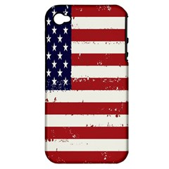 Flag United States United States Of America Stripes Red White Apple Iphone 4/4s Hardshell Case (pc+silicone) by Simbadda