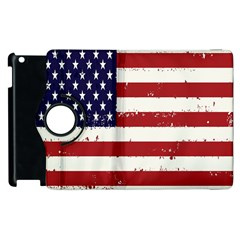 Flag United States United States Of America Stripes Red White Apple Ipad 3/4 Flip 360 Case by Simbadda