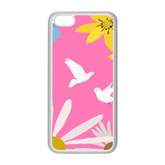 Spring Flower Floral Sunflower Bird Animals White Yellow Pink Blue Apple Iphone 5c Seamless Case (white) by Alisyart