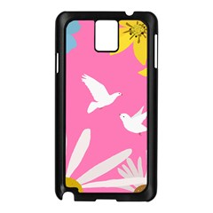 Spring Flower Floral Sunflower Bird Animals White Yellow Pink Blue Samsung Galaxy Note 3 N9005 Case (black) by Alisyart
