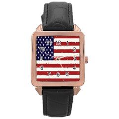 Flag United States United States Of America Stripes Red White Rose Gold Leather Watch  by Simbadda
