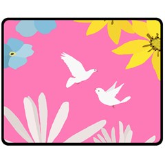 Spring Flower Floral Sunflower Bird Animals White Yellow Pink Blue Double Sided Fleece Blanket (medium)
