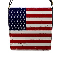 Flag United States United States Of America Stripes Red White Flap Messenger Bag (l)  by Simbadda