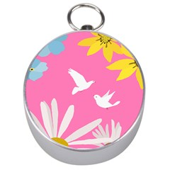 Spring Flower Floral Sunflower Bird Animals White Yellow Pink Blue Silver Compasses by Alisyart