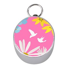 Spring Flower Floral Sunflower Bird Animals White Yellow Pink Blue Mini Silver Compasses by Alisyart