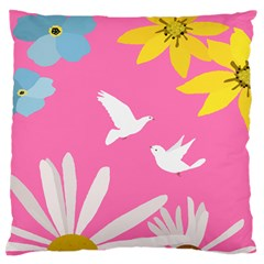Spring Flower Floral Sunflower Bird Animals White Yellow Pink Blue Large Flano Cushion Case (two Sides)