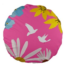 Spring Flower Floral Sunflower Bird Animals White Yellow Pink Blue Large 18  Premium Flano Round Cushions