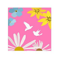 Spring Flower Floral Sunflower Bird Animals White Yellow Pink Blue Small Satin Scarf (square) by Alisyart