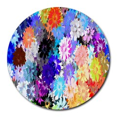 Flowers Colorful Drawing Oil Round Mousepads by Simbadda