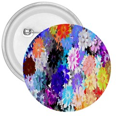 Flowers Colorful Drawing Oil 3  Buttons by Simbadda