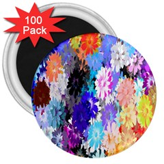 Flowers Colorful Drawing Oil 3  Magnets (100 Pack) by Simbadda