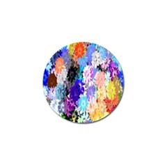 Flowers Colorful Drawing Oil Golf Ball Marker by Simbadda