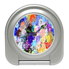 Flowers Colorful Drawing Oil Travel Alarm Clocks by Simbadda