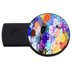 Flowers Colorful Drawing Oil Usb Flash Drive Round (4 Gb) by Simbadda