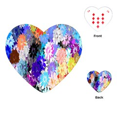 Flowers Colorful Drawing Oil Playing Cards (heart)  by Simbadda