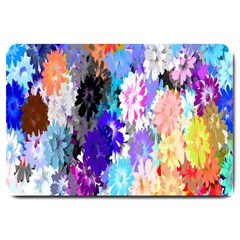 Flowers Colorful Drawing Oil Large Doormat  by Simbadda
