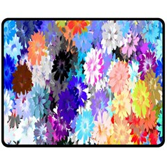 Flowers Colorful Drawing Oil Double Sided Fleece Blanket (medium)  by Simbadda