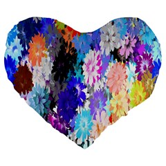 Flowers Colorful Drawing Oil Large 19  Premium Flano Heart Shape Cushions by Simbadda