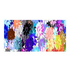 Flowers Colorful Drawing Oil Satin Wrap by Simbadda