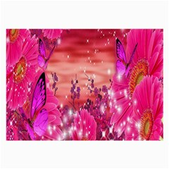 Flowers Neon Stars Glow Pink Sakura Gerberas Sparkle Shine Daisies Bright Gerbera Butterflies Sunris Large Glasses Cloth by Simbadda