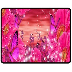 Flowers Neon Stars Glow Pink Sakura Gerberas Sparkle Shine Daisies Bright Gerbera Butterflies Sunris Fleece Blanket (medium)  by Simbadda