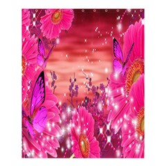 Flowers Neon Stars Glow Pink Sakura Gerberas Sparkle Shine Daisies Bright Gerbera Butterflies Sunris Shower Curtain 60  X 72  (medium)