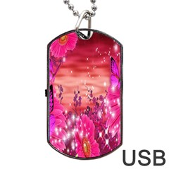 Flowers Neon Stars Glow Pink Sakura Gerberas Sparkle Shine Daisies Bright Gerbera Butterflies Sunris Dog Tag Usb Flash (two Sides)
