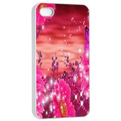 Flowers Neon Stars Glow Pink Sakura Gerberas Sparkle Shine Daisies Bright Gerbera Butterflies Sunris Apple Iphone 4/4s Seamless Case (white)