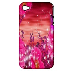 Flowers Neon Stars Glow Pink Sakura Gerberas Sparkle Shine Daisies Bright Gerbera Butterflies Sunris Apple Iphone 4/4s Hardshell Case (pc+silicone)
