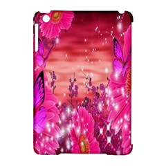Flowers Neon Stars Glow Pink Sakura Gerberas Sparkle Shine Daisies Bright Gerbera Butterflies Sunris Apple Ipad Mini Hardshell Case (compatible With Smart Cover)