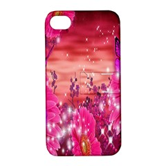Flowers Neon Stars Glow Pink Sakura Gerberas Sparkle Shine Daisies Bright Gerbera Butterflies Sunris Apple Iphone 4/4s Hardshell Case With Stand