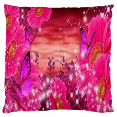 Flowers Neon Stars Glow Pink Sakura Gerberas Sparkle Shine Daisies Bright Gerbera Butterflies Sunris Standard Flano Cushion Case (two Sides) by Simbadda