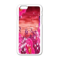 Flowers Neon Stars Glow Pink Sakura Gerberas Sparkle Shine Daisies Bright Gerbera Butterflies Sunris Apple Iphone 6/6s White Enamel Case