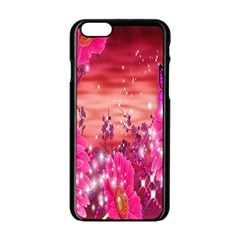 Flowers Neon Stars Glow Pink Sakura Gerberas Sparkle Shine Daisies Bright Gerbera Butterflies Sunris Apple Iphone 6/6s Black Enamel Case