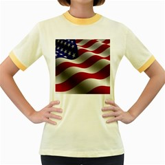 Flag United States Stars Stripes Symbol Women s Fitted Ringer T Shirts by Simbadda