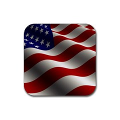 Flag United States Stars Stripes Symbol Rubber Square Coaster (4 Pack)