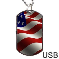 Flag United States Stars Stripes Symbol Dog Tag Usb Flash (two Sides) by Simbadda