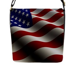 Flag United States Stars Stripes Symbol Flap Messenger Bag (l)