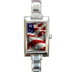 Flag United States Stars Stripes Symbol Rectangle Italian Charm Watch by Simbadda