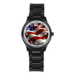 Flag United States Stars Stripes Symbol Stainless Steel Round Watch
