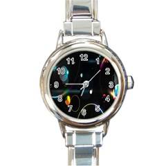 Glare Light Luster Circles Shapes Round Italian Charm Watch by Simbadda