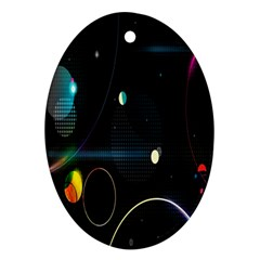 Glare Light Luster Circles Shapes Oval Ornament (two Sides)