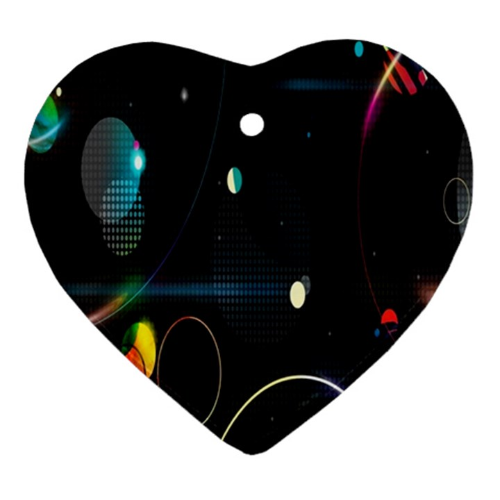 Glare Light Luster Circles Shapes Heart Ornament (Two Sides)