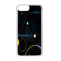 Glare Light Luster Circles Shapes Apple Iphone 7 Plus White Seamless Case by Simbadda