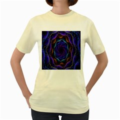 Flowers Dive Neon Light Patterns Women s Yellow T Shirt