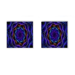 Flowers Dive Neon Light Patterns Cufflinks (square) by Simbadda